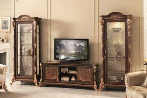 Sinfonia mobile TV, TV de pie con vitrina, con la decoración de hojas de oro