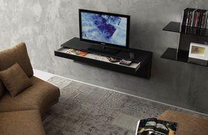 a107 tom, Soporte de TV con cajones y orificios para cables