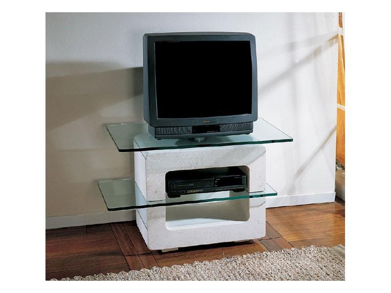 Aria small TV Unit, Soporte de la TV con la estructura de piedra y tapas de cristal