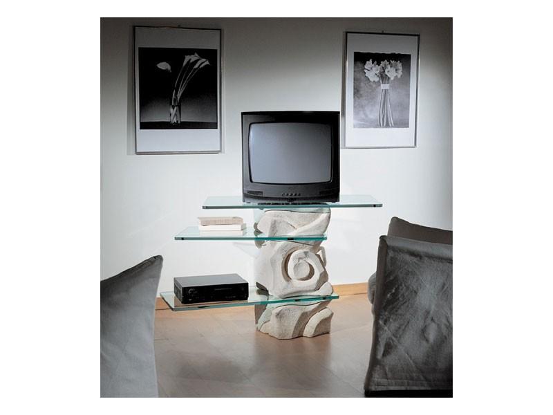Corallo TV Unit, Giratoria TV de soporte, hecha de piedra con estantes de cristal