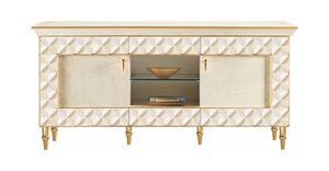 SIPARIO Gabinete de televisión, Mueble de televisión de estilo clásico con puertas