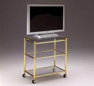 IONICA 678, Soporte de TV carro para salas de estar, en bronce y cristal