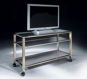MADISON 3280, TV de pie con ruedas y tapa de cristal, para la sala de estar moderna