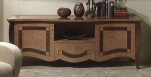 MB56 Charme, TV de pie en madera con incrustaciones, hoteles y villas