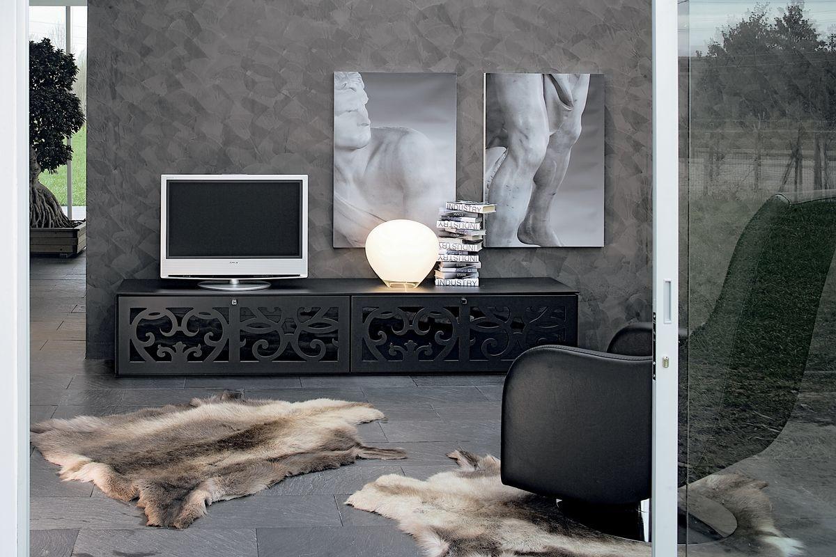 PARIS tv stand, Inicio muebles de teatro, en laminado perforado, para salas de estar