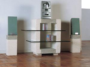 Phono CD Unit, Gabinete de piedra de la casa, con estantes de cristal