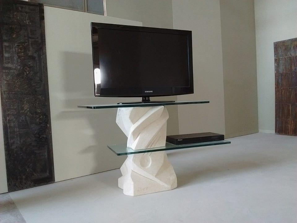 Picasso soporte de tv, Soporte de TV con estantes de vidrio ajustables