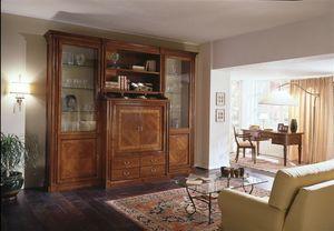 R 02, Mueble de televisión con compartimento cerrado y vitrinas