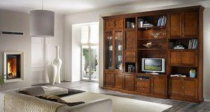 R 06, Mueble de TV con cajones, vitrinas y armarios