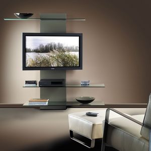 Slide TV holder, TV de pie con librería, de laminado y cristal
