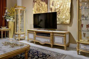 Soporte de TV 1447 estilo Luis XVI, Soporte de TV con incrustaciones geométricas.