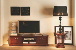 Villa Borghese soporte TV 5378, Mueble TV con estante de vidrio templado.