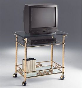 VIVALDI 1078, Mueble de latón TV, con ruedas, hoteles elegantes