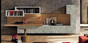 002 Mueble de sala, Muebles de salón elegantes, con puertas con decoraciones en hoja.
