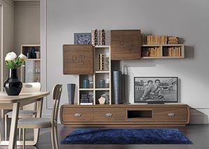 Amarcord Art. AM1010, Muebles de salón, nogal oscuro y lacado