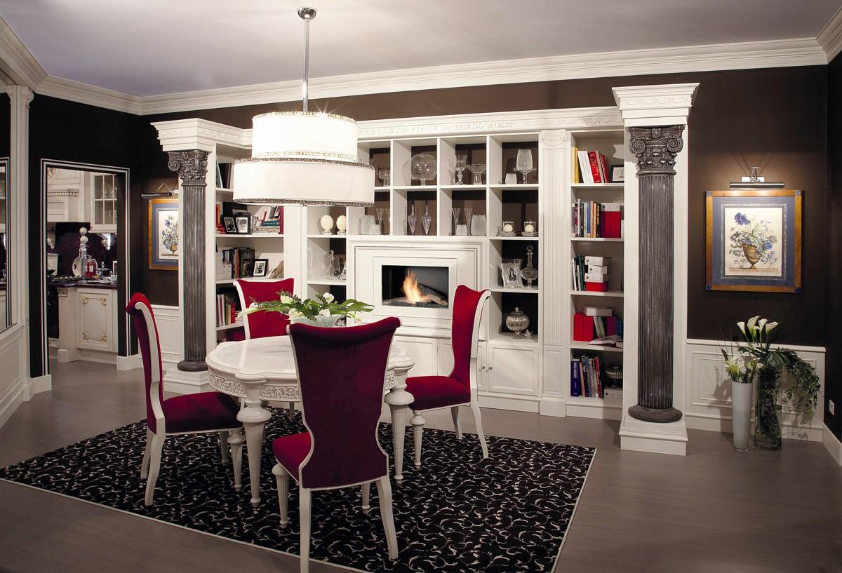 Muebles tallados a mano para sala de estar con chimenea for Arredamento salone con camino