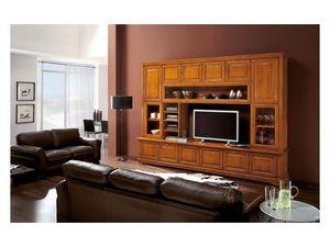 Art.112, Estantería de madera maciza con TV de soporte, clásico de lujo