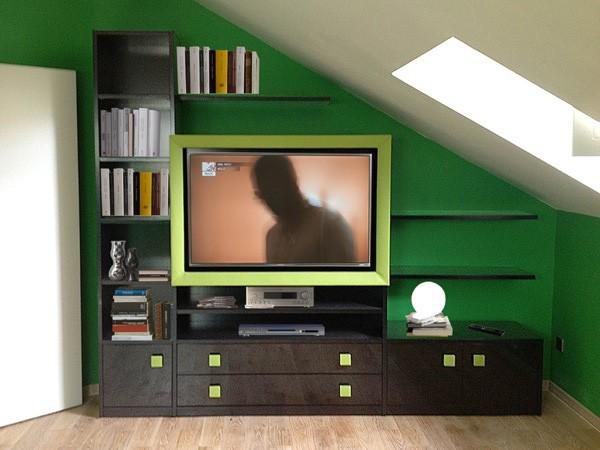 Art. 2830 Clover, Unidad de almacenamiento para la sala de estar, marco de cuero para la televisión