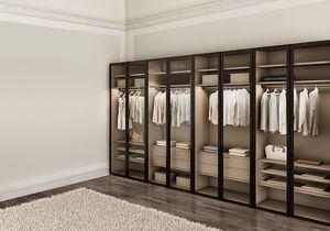 ATLANTE WIND comp.02, Armario moderno para los dormitorios, con puertas de cristal