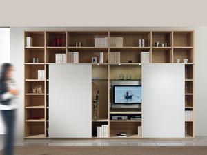D�a Biblioteca 01, Estructura modular con el estante y el soporte de la TV, 2 puertas correderas