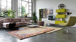 Citylife 04, Sistema modular para salas de estar modernas con muebles de pared