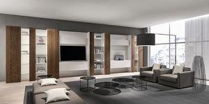 CODE comp.05, Biblioteca moderna sala de estar, con TV móvil y estantes