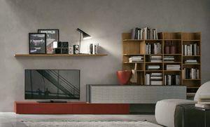 Comp.e A114, Muebles de salón con librería de madera.