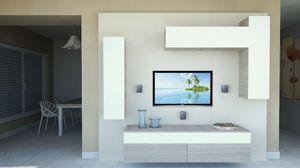 DayWall 102, Mobiliario de sala con muebles de pared en lacado blanco