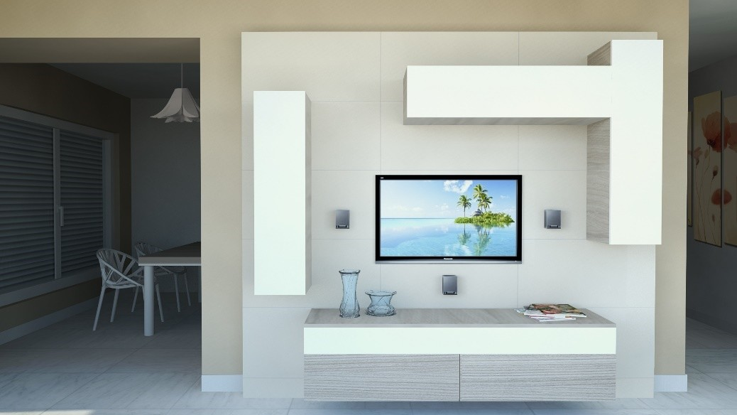 Mobiliario de sala con muebles de pared en lacado blanco | IDFdesign