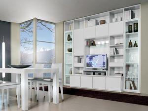 Día Parede 10, Sistema modular para la sala de estar y comedor, con soporte de TV