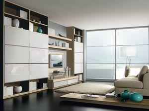Día Parede 01, Sistema modular para la sala de estar y la oficina, con la biblioteca