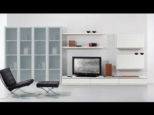 Día Parede 05, Juego de muebles para el cuarto de estar, con las ventanas y estantes