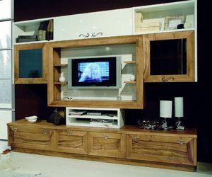 Elios 118, Mobiliario de sala de estar, en nogal y lacado blanco.