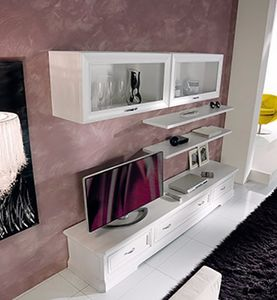 Exclusive sistema de pared equipado, Mueble modular para sala de estar, en madera blanca