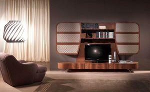 LB28a Mistral pared, Móvil multifuncional en madera, para salas de estar modernas