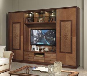 LB38 Charme, Mueble de televisión con librería, estilo clásico contemporáneo