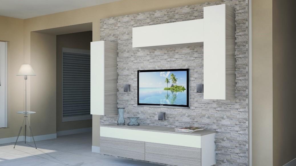 Muebles de sala con paneles hechos de roca idfdesign - Muebles sala estar ...