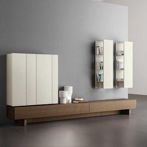 Plinto 1.6 C, Mobiliario de sala de estar, personalizable, con armarios de pared