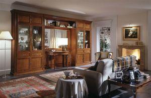 R 03, Muebles clásicos para sala de estar con vitrina y espejo