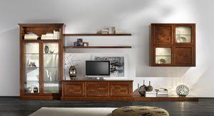 R 07, Muebles de cerezo para la sala de estar, con manijas de bronce