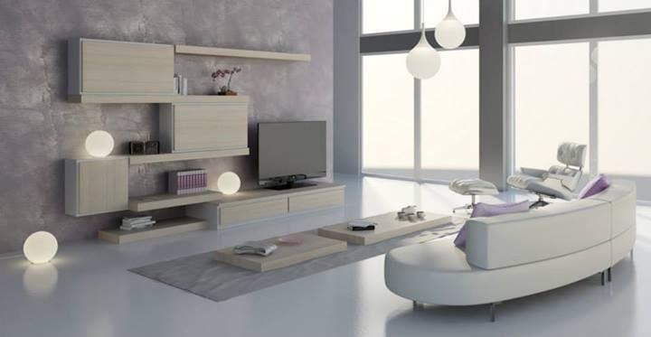 Salón 24, Muebles modulares para sala de estar, de diseño contemporáneo, acabados personalizables y elementos