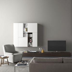 Spazio S310, Sistema de pared con soporte para TV, con iluminación