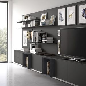Spazio S313, Sistema de pared para TV, con iluminación incorporada