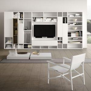 Spazioteca SP014, Sistema modular para la moderna sala de estar, en madera