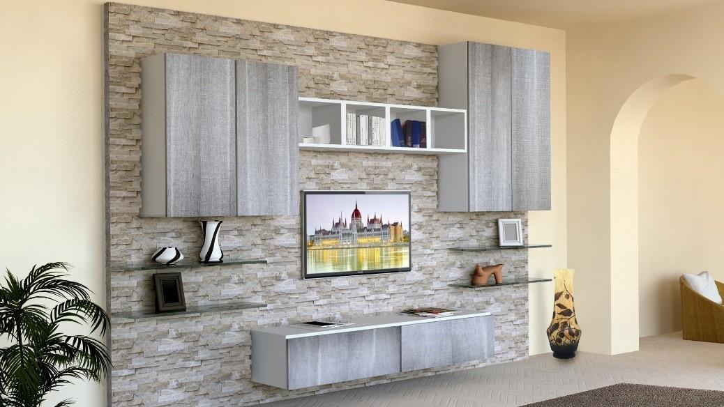Muebles de sala con paredes de piedra revestida idfdesign - Muebles de piedra ...