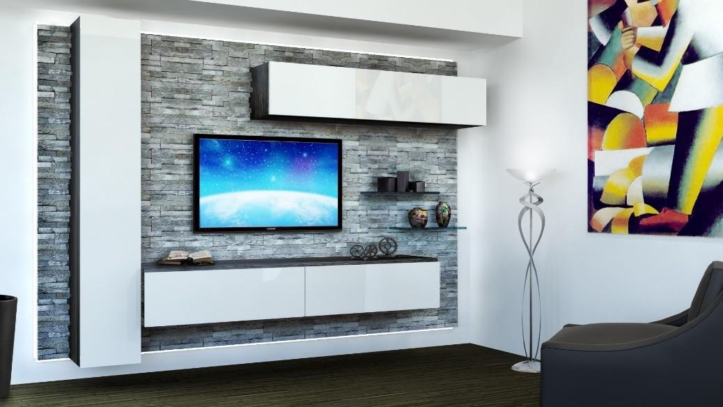 Los muebles para la sala de estar, con paneles de roca, armarios ...