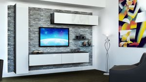 Venezia 10, Los muebles para la sala de estar, con paneles de roca, armarios lacados colgantes blancos