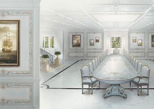 504 Boiserie, Artesanía en madera pintada de blanco, para los comedores de estilo clásico