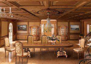 F604 Boiserie, Revestimiento de madera con incrustaciones en el clásico estilo de lujo para Comedor