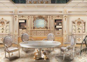 F850 Boiserie, Blanca paneles de madera lacada, para salones de lujo clásico